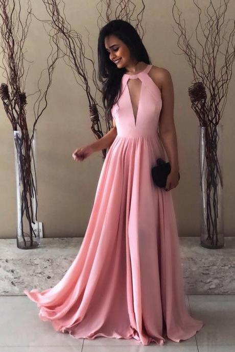 Modest High Neck Pink Chiffon Long Prom Dress 2018 Homecoming Dress Floor Length