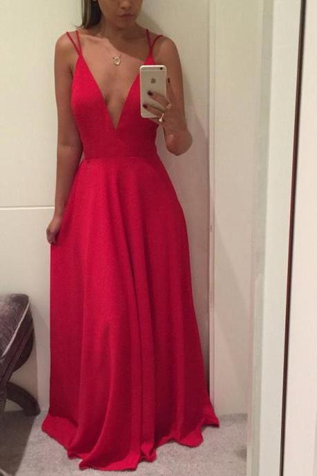 Sexy V Neck Backless Red Chiffon Long Prom Dress Cheap Evening Dress Party Gowns