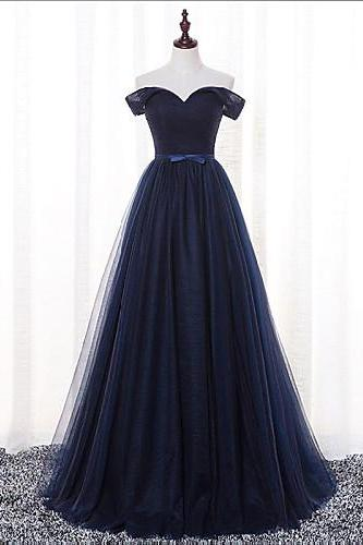 Elegant A-Line Off-Shoulder Navy Blue Tulle Long Prom Dress with Bow