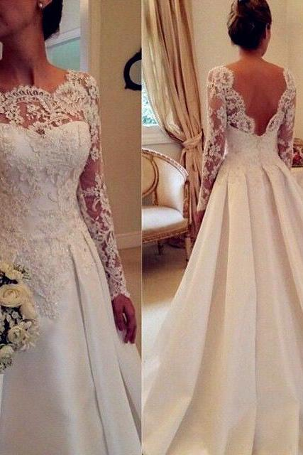 Lace Appliques Bateau Neck Long Sleeves Satin Wedding Gown Plunge V Back