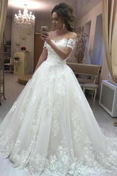 Romantic Off Shoulder Lace Embroidery Tulle Wedding Dresses Princess Bridal Dress