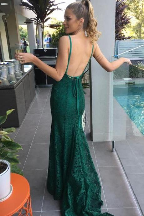 Elegant Mermaid Hunter Lace Long Prom Evening Dress Backless