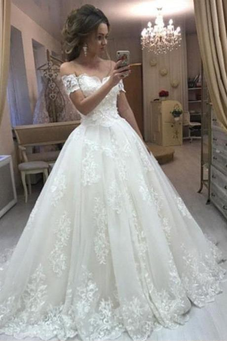 Beautiful Off the Shoulder Ball Gown Lace Wedding Dresses Bridal Gowns with Appliques