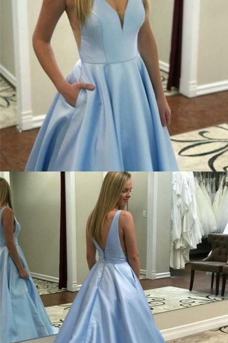 Chic Baby Blue Double V-neck Satin Long Prom Dresses Backless Evening Gowns