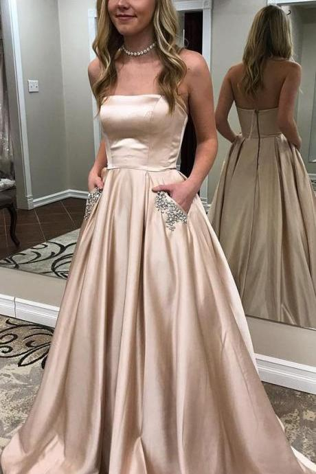 Nude Strapless Satin Beaded Long Prom Dresses with Pocket, Party Dress