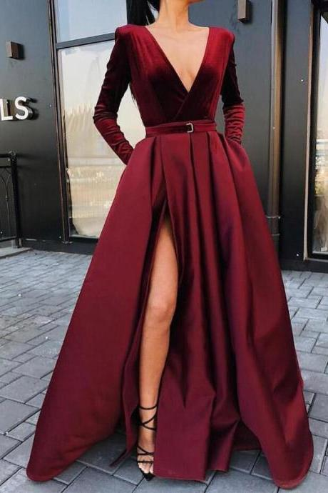 Burgundy V Neck Long Sleeves Side Slit Long Prom Dresses Evening Dress