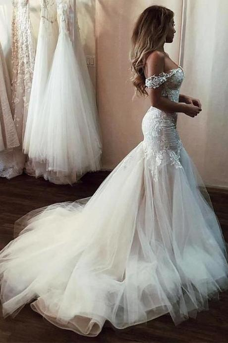Modern Off-the-shoulder Tulle Mermaid Wedding Dresses With Beaded Lace Appliques
