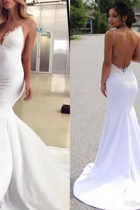 High Quality Mermaid Backless Wedding Reception Dress Bridal Gown