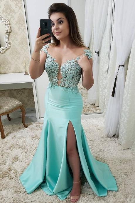 Illusion Lace Appliqued Off the Shoulder Mermaid Long Prom Evening Gown Party Dress 2019
