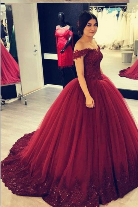Charming Off-the-shoulder Beaded Lace Burgundy Ball Gown Prom Dresses Vestido de Baile