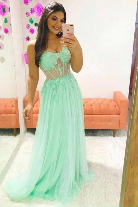 Mint Green Sweetheart Lace Appliqued Sheer Long Chiffon Prom Dress Party Gown