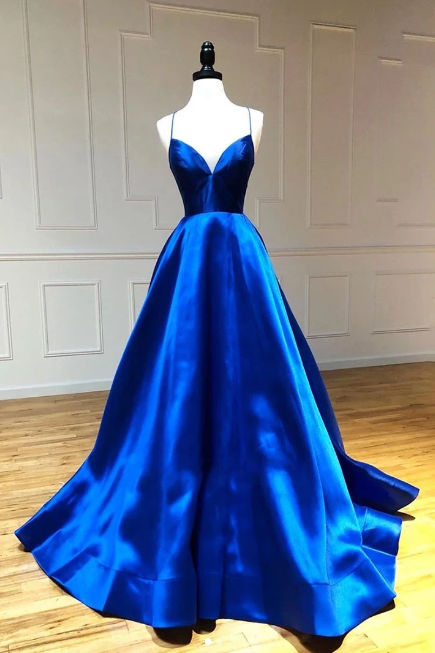Simple Royal Blue Satin A-line Long Prom Dresses Spaghetti Straps Party Dresses
