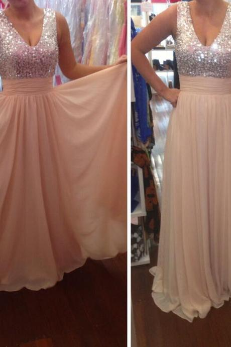 Custom Made Pretty Light Champagne Sequins Long Chiffon Prom Dresses, Prom Gowns, Formal Gowns, Evening Dresses