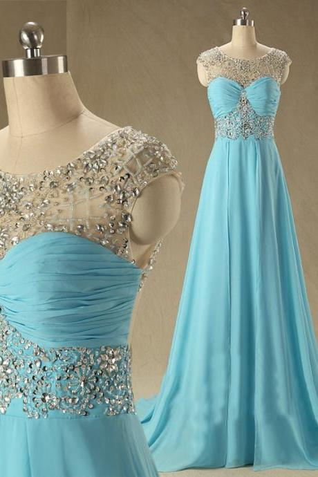 New Arrival Custom Cap Sleeve Blue Chiffon A Line Floor Length Long Evening Dresses Prom Dresses/Party Dresses