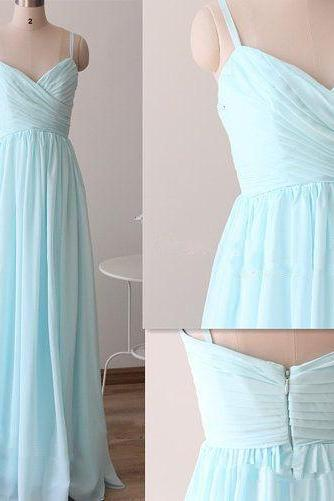 Pretty Light Blue Straps Long Prom Dresses, Light Blue Bridesmaid Dresses, Long formal Dresses,Evening Dresses