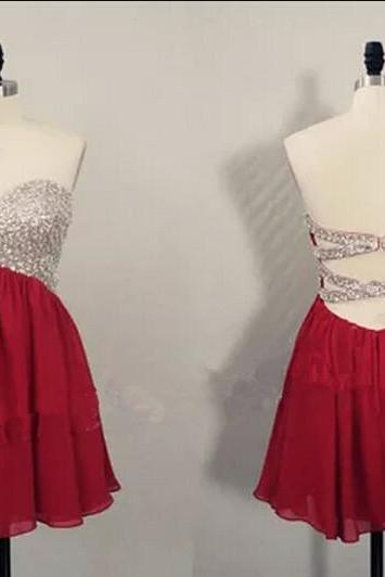 Cute Short Burgundy Beaded Knee Length Cross Back Prom Dresses 2015, Homecoming Dresses 2015, Graduation Dresses 2015