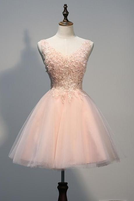 Charming Homecoming Dress,Organza Homecoming Dress,Appliques Homecoming Dress,V-Neck Homecoming Dress