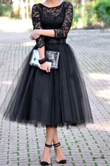 Long Sleeve Prom Dress,Tulle Prom Dress,Mid Calf Prom Dress, Black Lace Tulle Prom Gown