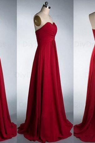 Custom Made Elegant A Line Floor Length Burgundy Chiffon Bridesmaid Dresses,Sweetheart Dark Red Long Bridesmaid Dress,Cheap Graduation Dress Evening Burgundy Prom Dress