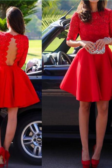 Red Lace Graduation Dresses, Short/Mini Graduation Dresses, Real Made Homecoming Dresses, The Charming Homecoming Dresses, Homecoming Dresses On Sale 2015