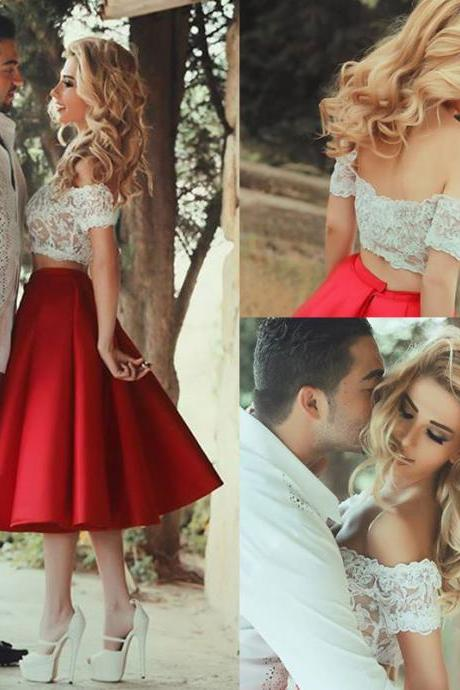 Two Pieces Lace Homecoming Dresses,Red Graduation Dresses, Said Mhamad Dresses, Short Homecoming Dress, Short Prom Dress