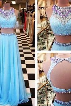 2016 Beading Prom Dresses,A-Line Floor-Length Prom Dresses,Two Piece Prom Dresses, Blue Prom Dresses, Charming Backless Evening Dresses