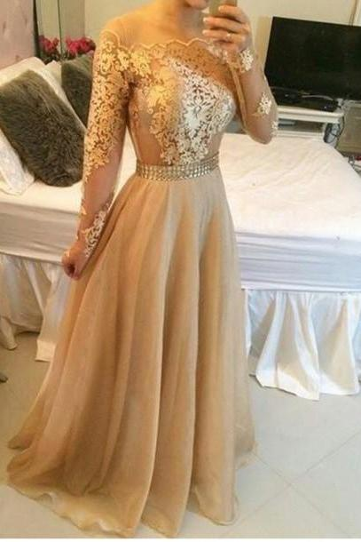 2016 Appliques Gold Prom Dresses, Floor-Length Prom Dresses, Real Made Evening Dresses,Chiffon Backless Evening Dresses, Evening Dresses On Sale