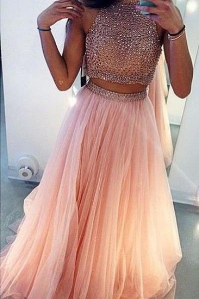 Charming Prom Dress,Beading Prom Dress,2 Pieces Prom Dress,High Neck Prom Dress,Tulle Prom Dress