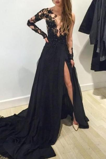 Custom Made Long Sleeves Black Lace Prom Dresses With Train, Black Lace Formal Dresses, Backless Formal Dress, Black Prom Dress