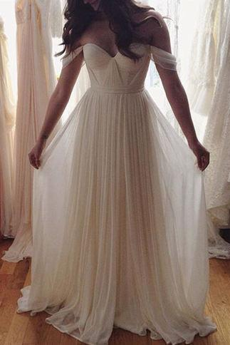 Charming White A-line Chiffon Long Prom Dress,Wedding Dress, Off the Shoulder Wedding Dress, Beach Wedding Dress, White Wedding Dress, Long Dress, Bridal Dresses