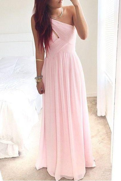 Pretty Pink One-Shoulder Simple Prom Dress 2016, Prom Dresses, Simple Prom Dresses 2015, Prom Gown, Evening Dresses