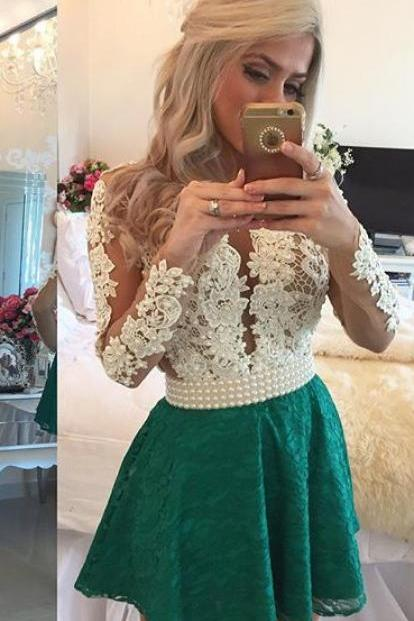 Charming Emerald Green Prom Dress, Short Homecoming Dress, Long Sleeves Homecoming Dress, Lace Homecoming Dress, Homecoming Dresses, Deep V Neck Sheer Tulle Short Sexy Party Dresses