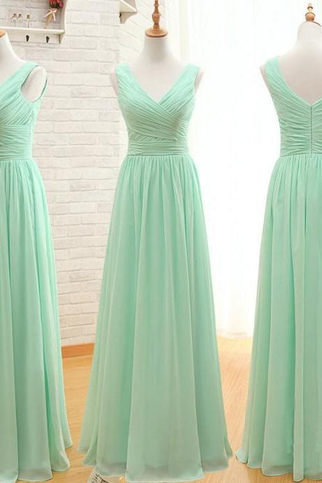 Charming Mint Green Bridesmaid Dress, Cheap Bridesmaid Dress, Floor Length Bridesmaid Dresses, V-neck Bridesmaid Dress, Chiffon Bridesmaid Dress, Simple Bridesmaid Dress, Wedding Party Dress, Prom Dress