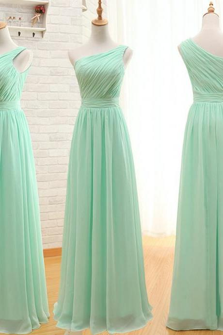 Elegant One Shoulder Bridesmaid Dress, Cheap Bridesmaid Dress, Mint Green Bridesmaid Dress, Long Bridesmaid Dress, Chiffon Bridesmaid Dress, Wedding Party Dress