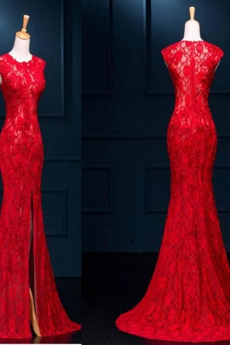 Long Sexy Red Lace Prom Dress, Red Prom Dresses, See Through Split Mermaid Prom Evening Dresses, Elegant Evening Dress, Formal Dress