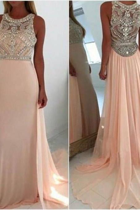 A-line Round Neck Light Pink Long Prom Dresses, Graduation Dresses, Pink Long Prom Dress, Modest Prom Dress for 2016, Sequin Long Prom Dresses, Pink Evening Dress