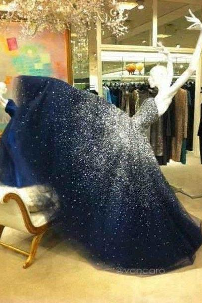 Prom Dress,Sparkling Prom Dress,Bling Prom Dress,Long Prom Dress,Beaded Prom Dress,Navy Prom Dresses,Fashion Girl Party Dress,Ball Gown,Ball Gown Prom Dress
