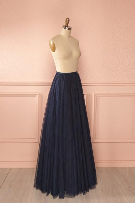 High Quality Pretty Black A-line Long Skirt, Women Skirts, Black Skirts, Skirts, Tulle Skirts