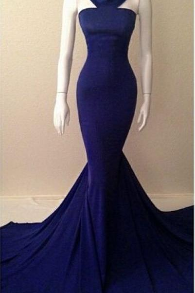 Navy Blue Halter Neck Mermaid Evening Gowns, Sexy Simple Long Prom Dresses, Long Prom Dresses, Formal Dresses, Evening Dresses
