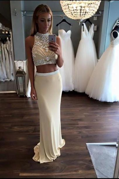 Unique 2 Pieces Prom Dress, Beaded Prom Dress, Chiffon Prom Dress, Long Prom Dress, White Prom Dress for Teens, Evening Dress