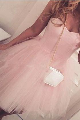 Lovely Light Pink Tulle Short Homecoming Dresses,Cute Prom Dresses, Pink Graduation Dresses
