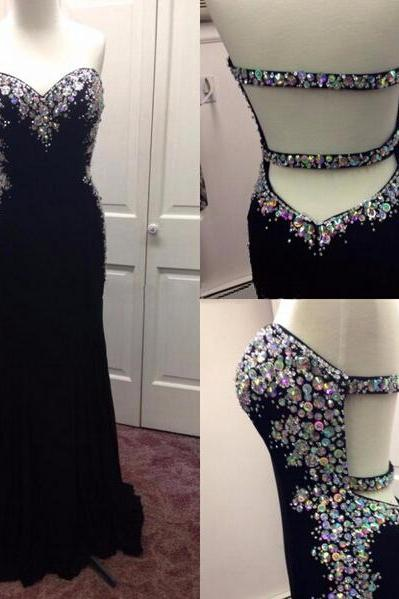 New Arrive Backless Mermaid Black Prom Dresses,Open Back Sweetheart Neck Crystals Beaded Prom Dress,Sexy Sheath Evening Dress Party Gowns