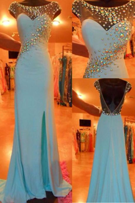 Blue Prom Dresses, 2016 Evening Dresses, Slit Prom Gowns, Elegant Prom Dress, Backless Prom Dresses, Chiffon Evening Gowns, 2016 Open Backs Formal Dress