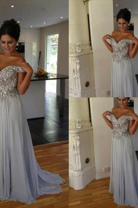 Gray Prom Dresses,Silver Grey Prom Dress,Sexy Prom Dress,Sequined Prom Dresses,2016 Formal Gown,Chiffon Evening Gowns,A Line Party Dress,Sequin Prom Gown For Teens