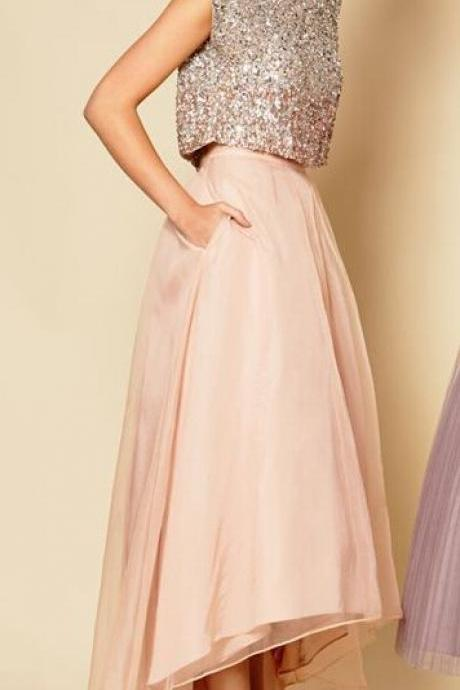Shining Two Piece Prom Dress Women Clothing Prom Dress