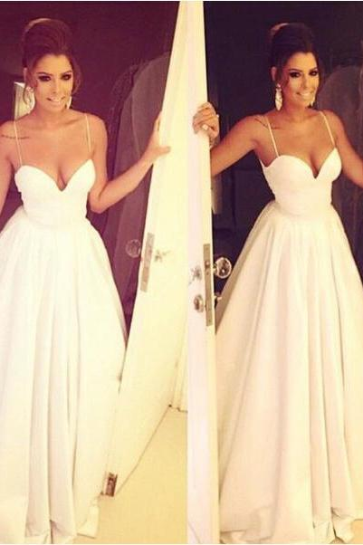White Spaghetti Strap Long Prom Dress, Sexy Sweetheart Party Dresses For Formal