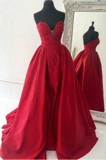 2016 Simple Red Prom Dress Satin Long Evening Gowns Formal Party Dresses For Teens Senior