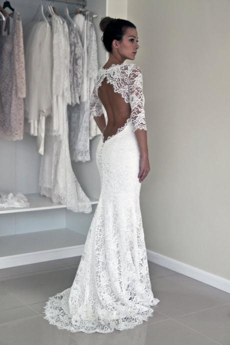New Arrival Sheath Wedding Dresses, Lace Wedding Gowns, The elegant Bridal Dresses,Backless Wedding Dresses,Wedding Dresses