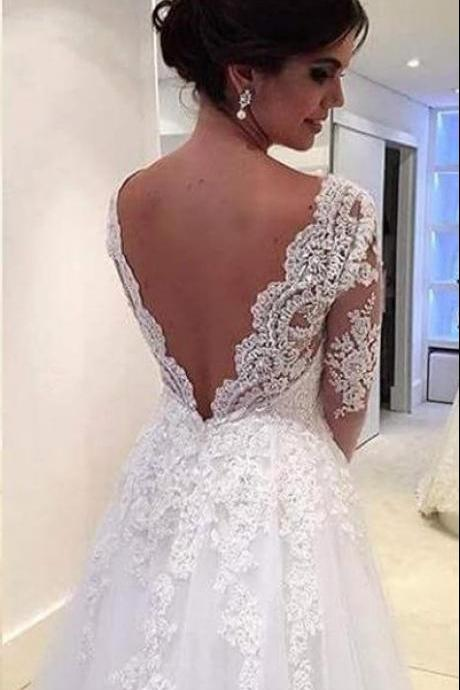 High Quality White/Ivory V-neck Wedding Dress, Long Sleeves Wedding Dresses, Lace Wedding Dresses, 2016 Sexy Backless Bridal Dresses, Wedding Gown, Vestido De Novia