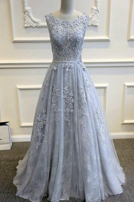Gray Blue Lace Wedding Dress, Romantic Wedding Dresses, Wedding Dresses, Real Made Wedding Dress, A-line Wedding Dress, Lace Bridal Gowns